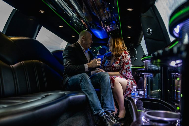 Anniversary Couple Eating Out Interior of Lincoln MKT Limo for Avant Garde Limousines