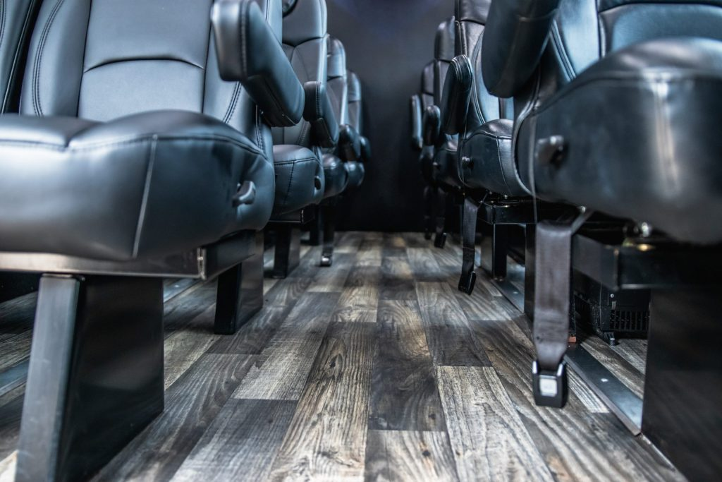 Interior Seating and Flooring of Executive Mini Coach for Avant Garde Limousines