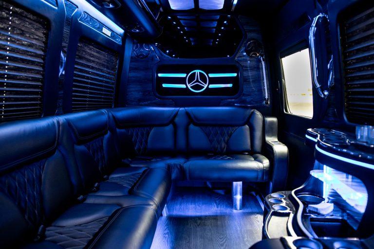Mercedes Sprinter Limo interior seats alternate view